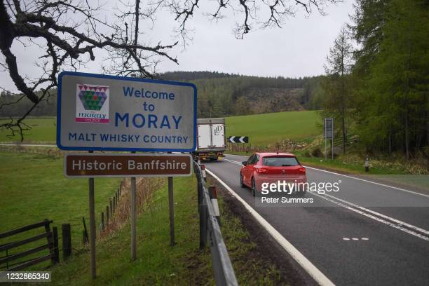 Car drives past a sign reading 'Welcome to Moray' on May 13, 2021 in Moray, Scotland. Scotland's First Minister Nicola Sturgeon has announced that...