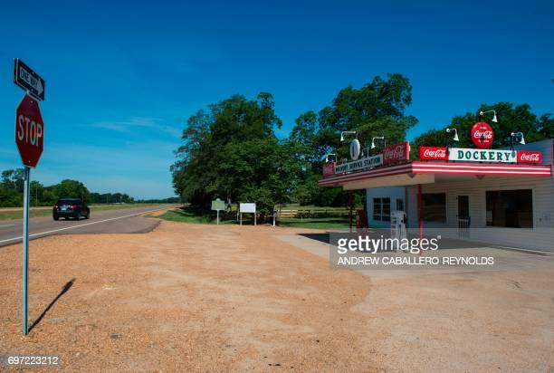 A car drives past Dockery farms in Cleveland Mississippi on June 9 2017 Dockery Plantation was a 10000acre cotton plantation and sawmill and it is...