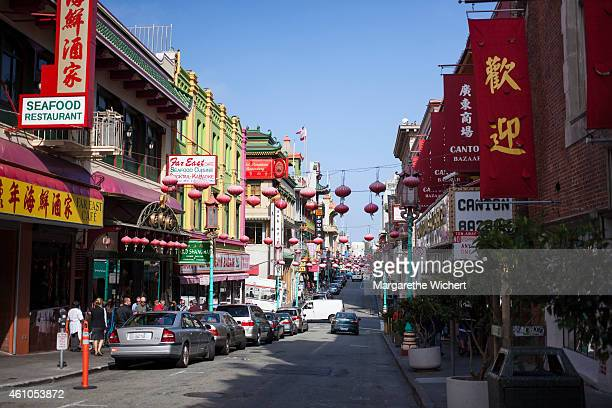A car drives through Chinatown on October 11 2013 in San Francisco United States