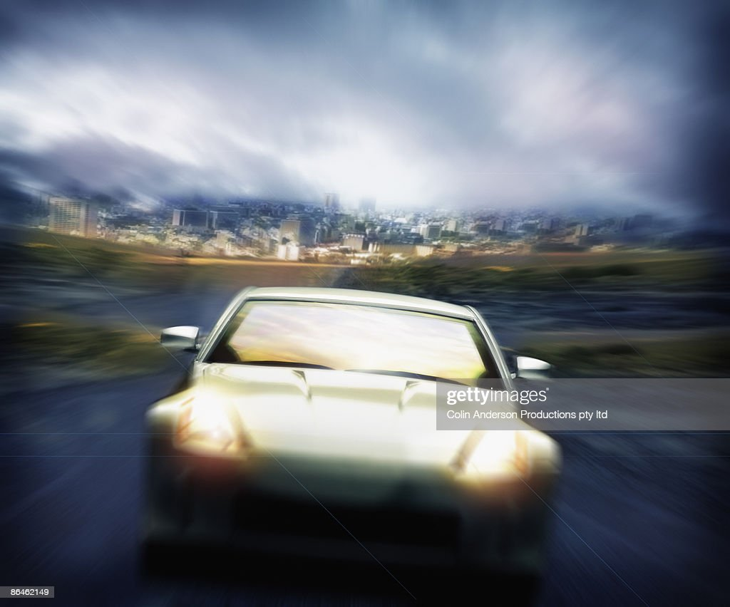 car driving away from city stock photo getty images