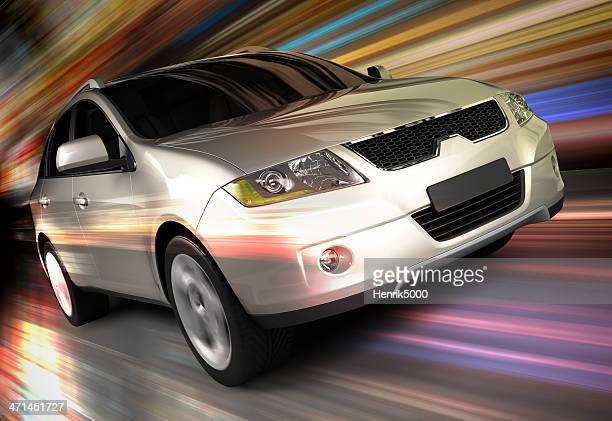 SUV car conducir rápido