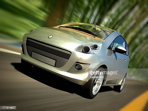 Car driving forest road - clipping path included