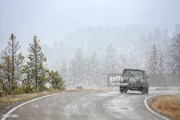 car driving on curving road in snow - driving in snow stock photos and pictures