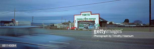 car driving past a service station on route 68 - timothy hearsum stock-fotos und bilder