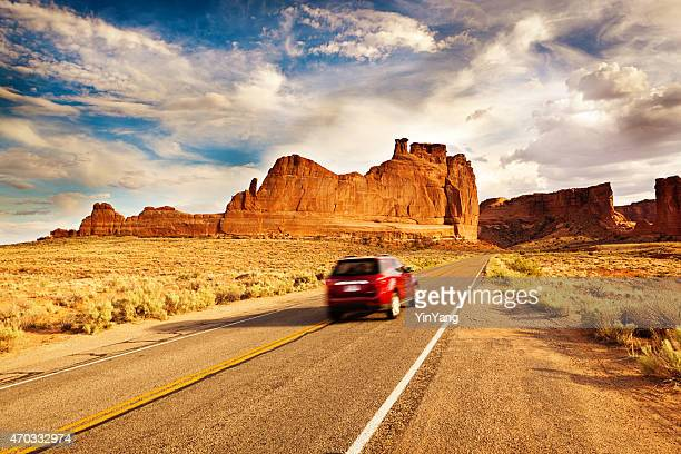 Car Driving Road Trip Touring at Arches National Park Utah