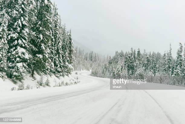 冬のワンダーランドを走行する車 - 状態 ストックフォトと画像