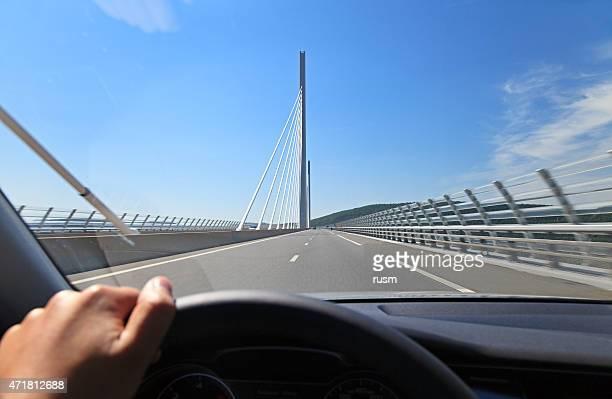 POV Car Driving through Millau Bridge, Southern France