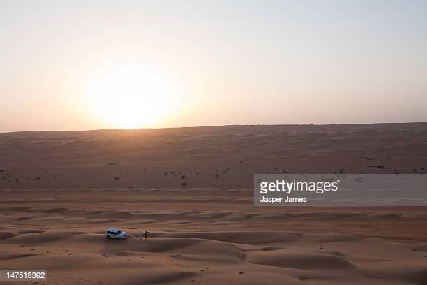 car driving through the desert