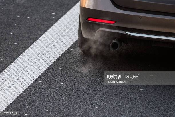 A car emits exhaust fumes on the A52 on February 22 2018 in Duesseldorf Germany The German Federal Court of Justice in Leipzig is due to rule today...