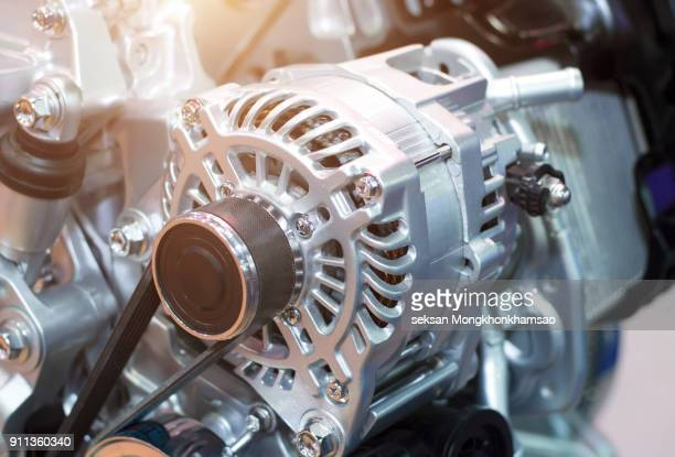 car engine, concept of modern vehicle motor with metal, chrome, plastic parts, heavy industry - chrome stock photos and pictures