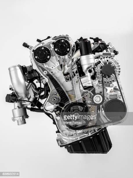 Car engine cutaway