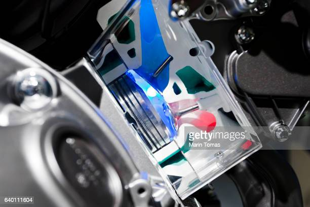 Car engine cylinder close up