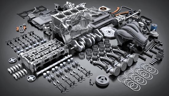 Car engine disassembled. many parts. 1139697726