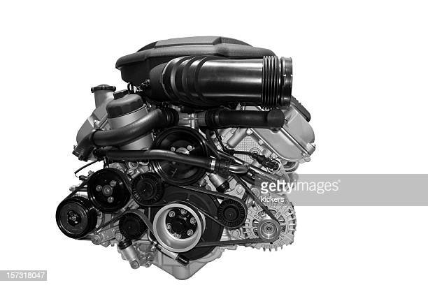 car engine isolated on white - v12 stock photos and pictures