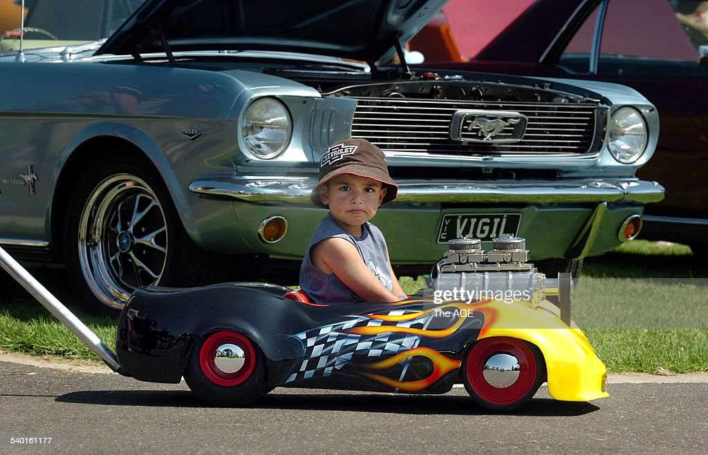 Car enthusiast Kyle Spiteri, four years old, takes his \'Hot Rod\' for ...