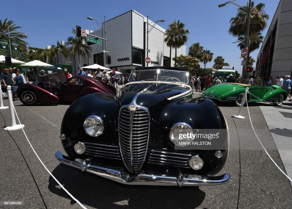 Car Enthusiasts Look At A French Built GFA Delahaya Type On - Beverly hills car show