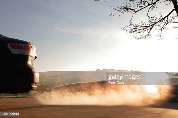 car exhaust on a cold morning - fumes stock photos and pictures