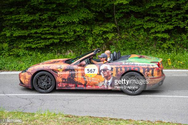 A car Ferrari passes through the Passo della Futa during the 1000 Miglia Historic Road Race on May 17 2019 in Firenze Italy The 1000 Miglia is an...