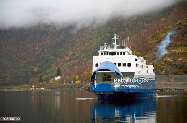 Car Ferry Entering Flåm Harbour