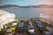 ferry transporting cars through sea norway