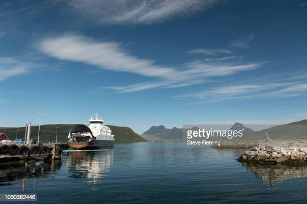 Car ferry on the Norwegian scenic route E17, west coast Norway.
