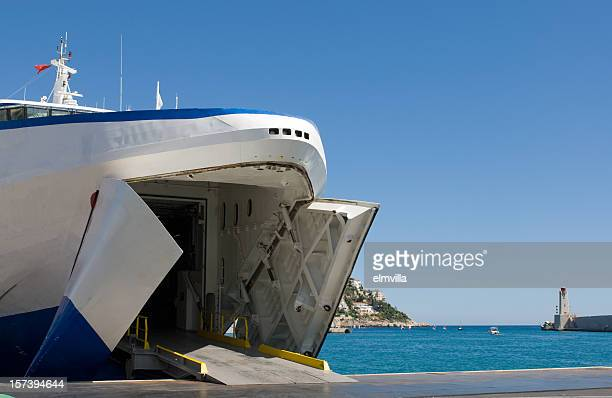 car ferry waiting to load - ferry stock pictures, royalty-free photos & images