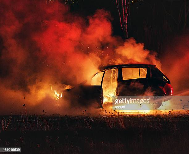 car fire - burnt stock pictures, royalty-free photos & images