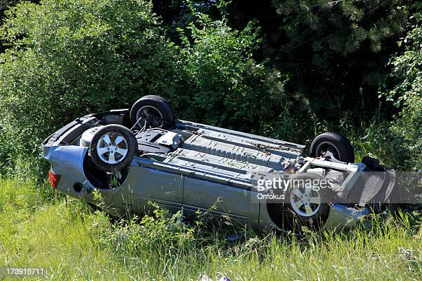 Car Flipped Onto its Roof After a Crash Car Accident