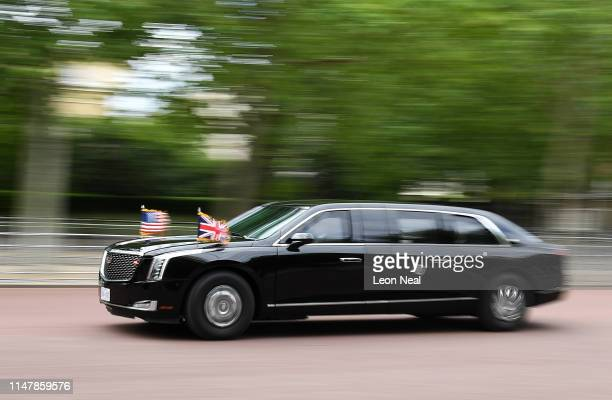Car from the motorcade of US President Donald Trump is seen on The Mall on June 3, 2019 in London, England. President Trump's three-day state visit...