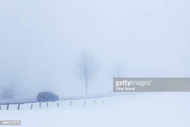 Car in a snow-covered winter landscape, in the mist, Belmicke, Bergneustadt, Oberbergischer Kreis, North Rhine-Westphalia, Germany