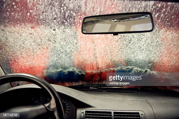 Car in carwash, view from interior