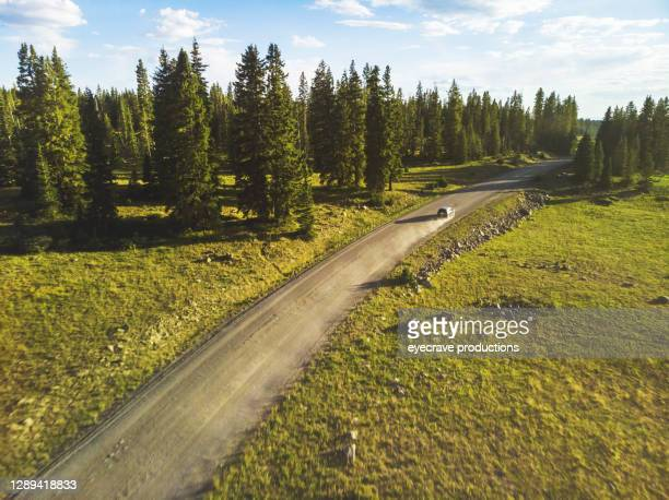 car in distance on mountain dirt road in the grand mesa national forest in the rocky mountains of colorado - eyecrave  stock pictures, royalty-free photos & images