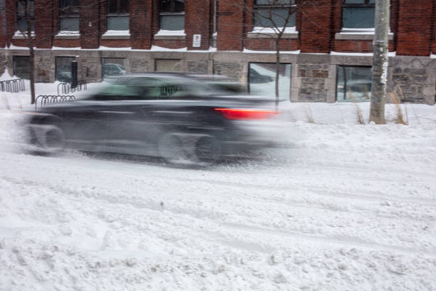 car in motion in a snowstorm