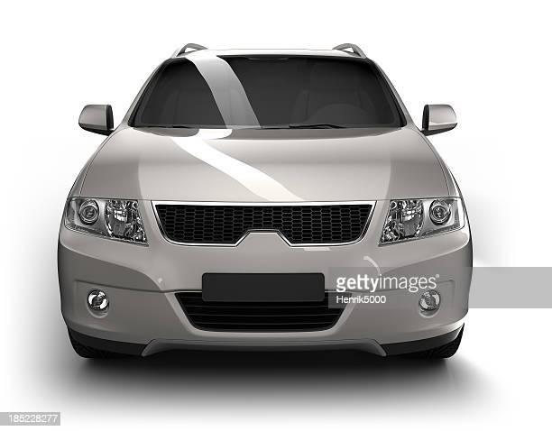 suv car in studio - isolated / clipping path - frontaal stockfoto's en -beelden