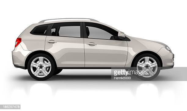 suv car in studio - isolated on white - van de zijkant stockfoto's en -beelden