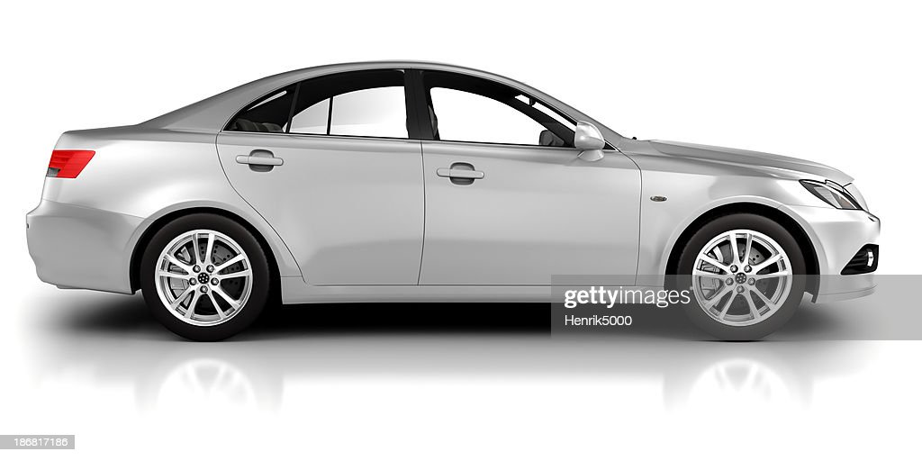 Car in studio side view - isolated on white : Stock Photo
