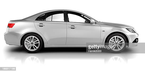Car in studio side view - isolated on white