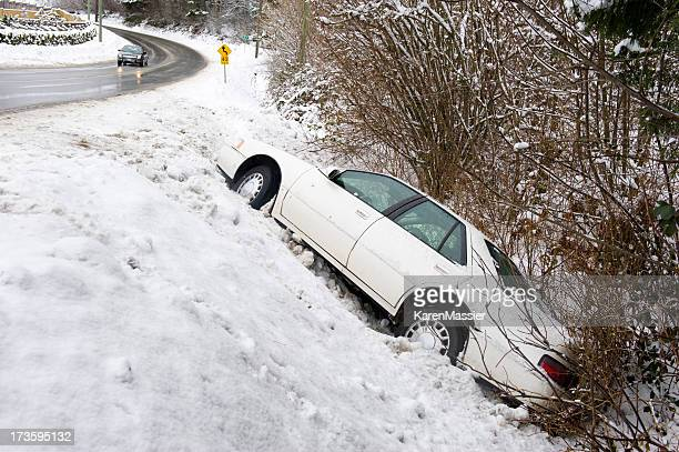car in the ditch - ditch stock photos and pictures