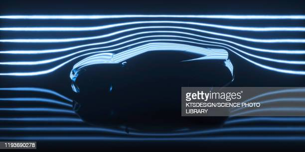 car in wind tunnel, illustration - futuristic car stock pictures, royalty-free photos & images