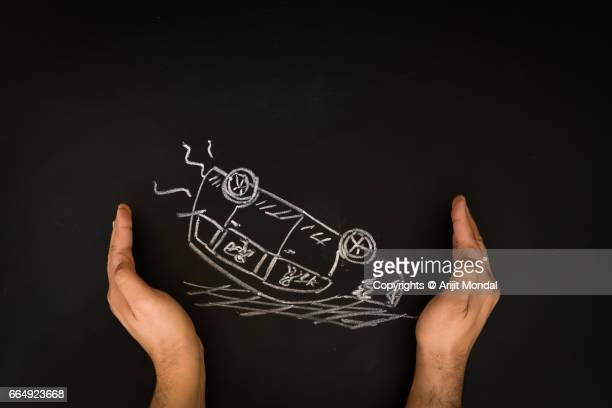 Car Insurance Concept Man Protecting Accidental Car, Blackboard Drawing with Copy Space