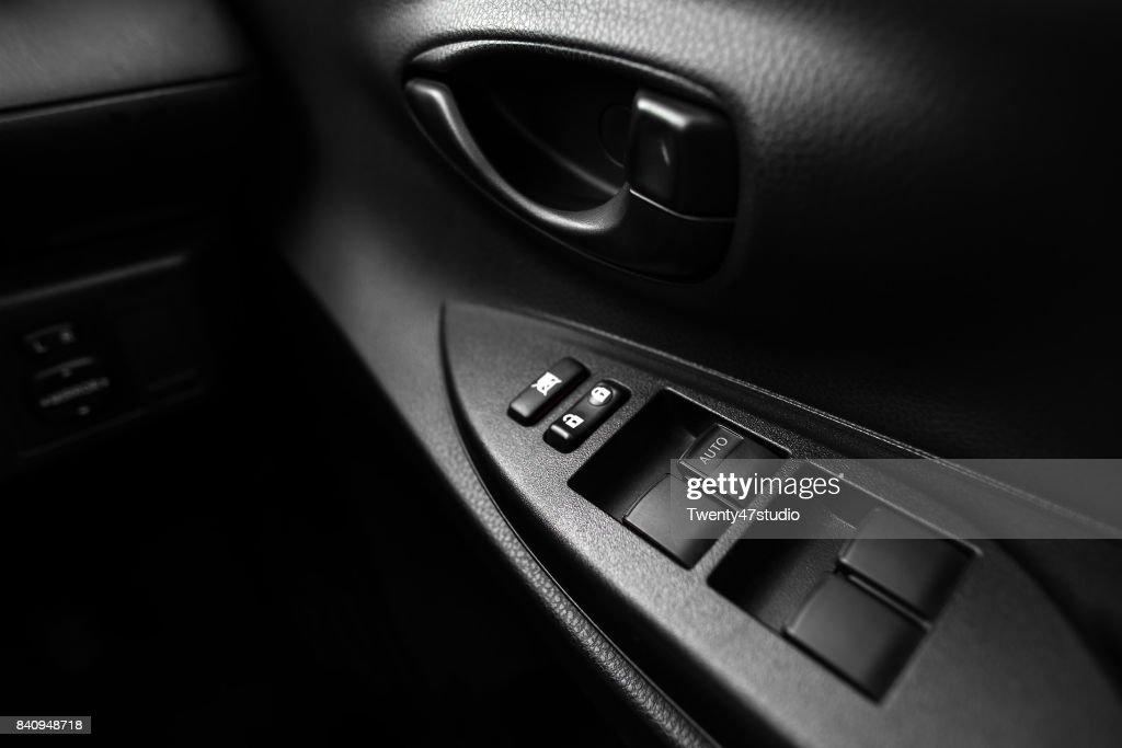 Car Interior Door Handle With Window Controls And Adjustment Stock