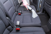 Car interior textile seats chemical cleaning with professionally extraction method.