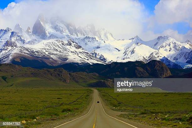 Car into Highway Road to El Chalten, Fitzroy, Patagonia Argentina
