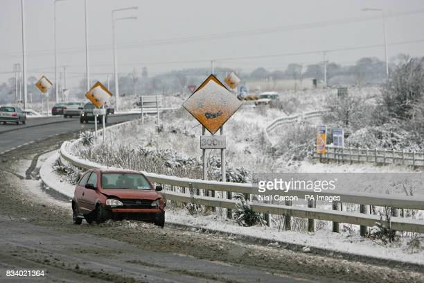 A car involved in an accident just off the N1 motorway outside Dunleer Co Meath