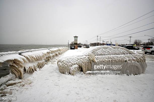 A car is covered in ice after being left in a parking lot on the shore of Lake Erie in Hamburg New York January 12 2016 The Buffalo and Western New...