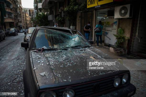 Car is damaged after a large explosion on August 4, 2020 in Beirut, Lebanon. Video shared on social media showed a structure fire near the port of...