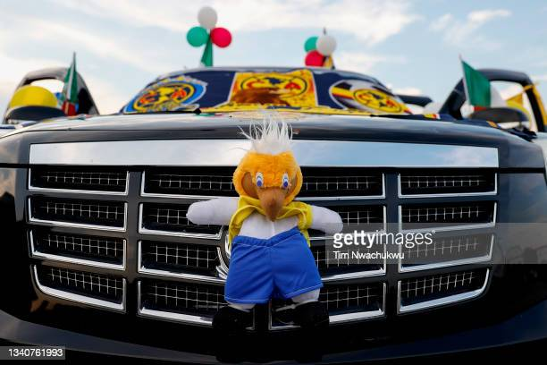 Car is decorated with Club America apparel before the semifinal second leg match of the CONCACAF Champions League 2021 at Subaru Park on September...
