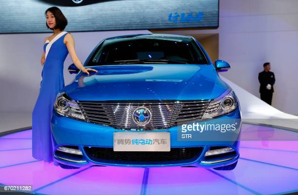 EV car is displayed during the first day of the 17th Shanghai International Automobile Industry Exhibition in Shanghai on April 19 2017 Global...