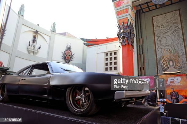 """Car is displayed during the Universal Pictures """"F9"""" World Premiere at TCL Chinese Theatre on June 18, 2021 in Hollywood, California."""