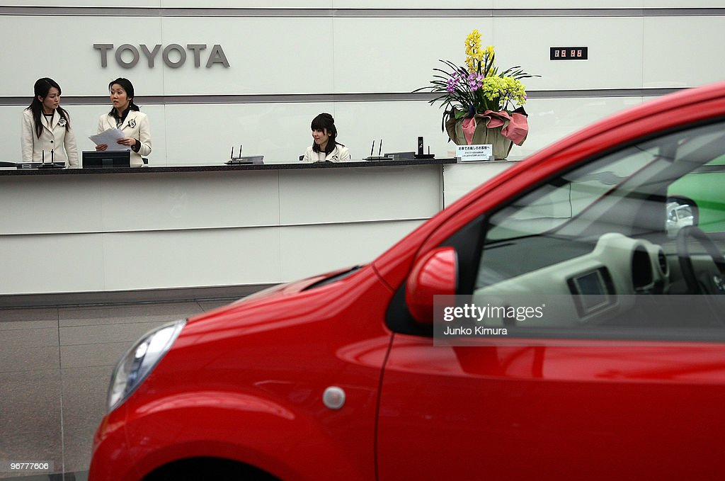 A car is on display at Toyota Motor Corporation's Tokyo headquarters on February 17, 2010 in Tokyo, Japan. Toyota promised a brake-override system in all future models worldwide, also will set up third-party research organization to test its electronic throttle control system.
